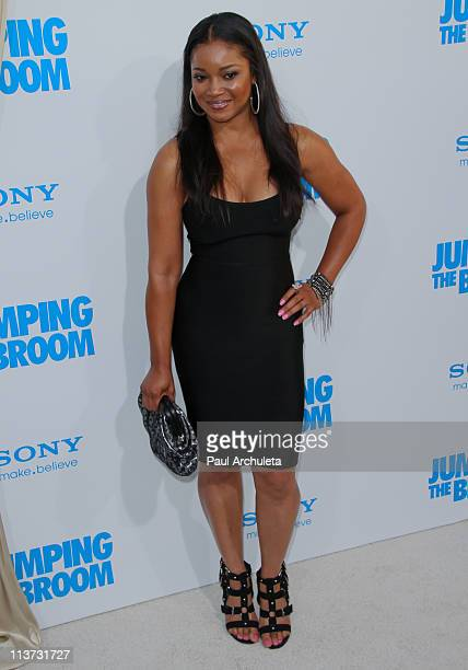 Actress Tamala Jones arrives at the 'Jumping The Broom' Los Angeles premiere at ArcLight Cinemas Cinerama Dome on May 4 2011 in Hollywood California