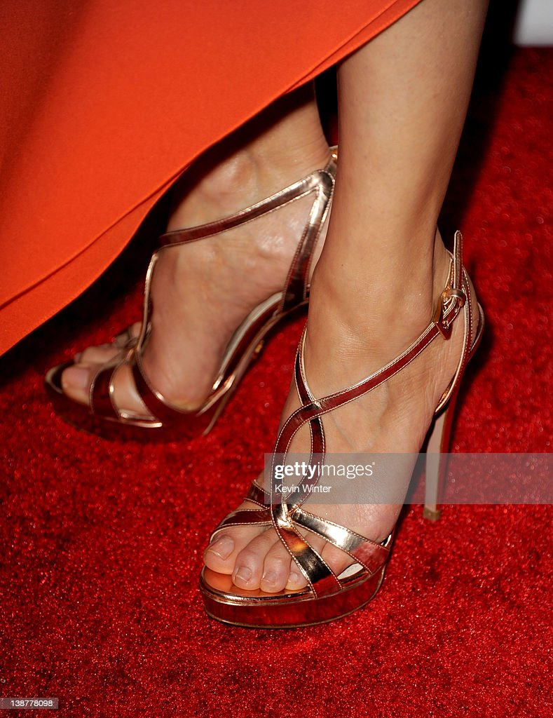 Actress Tamara Braun (shoe detail) arrives at Clive Davis and the Recording Academy's 2012 Pre-GRAMMY Gala and Salute to Industry Icons Honoring Richard Branson held at The Beverly Hilton Hotel on February 11, 2012 in Beverly Hills, California.