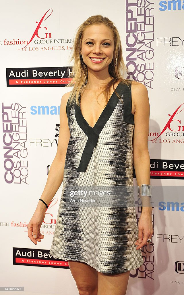 Actress Tamara Braun (muse to Kristine Megrikian appears on the red carpet at 'Meet The Designer and the Muse' at Ace Gallery on March 8, 2012 in Los Angeles, California.