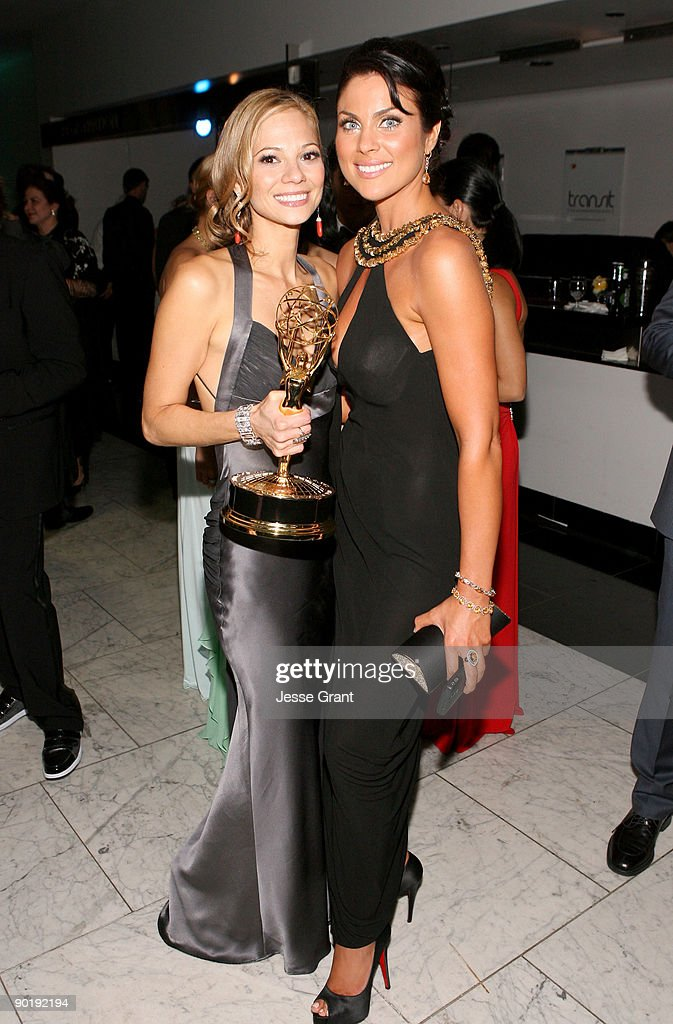 Actress Tamara Braun, winner of the Emmy for Outstanding Supporting Actress in a Drama Series,and actress Nadia Bjorlin attend the 36th Annual Daytime Emmy Awards after party on August 30, 2009 in Los Angeles, California.