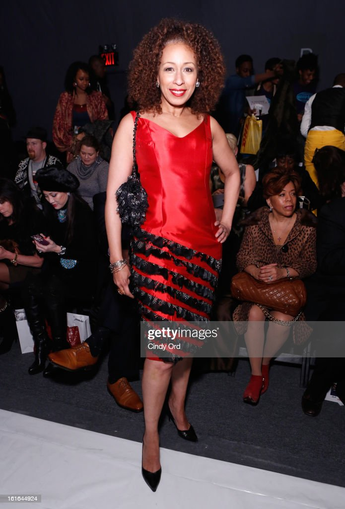 Actress Tamara Tunie attends the B Michael America Fall 2013 fashion show during Mercedes-Benz Fashion Week at The Studio at Lincoln Center on February 13, 2013 in New York City.