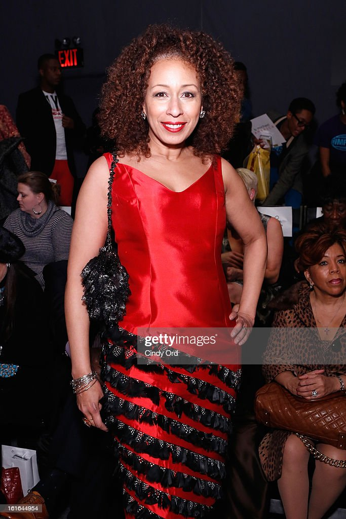 Actress <a gi-track='captionPersonalityLinkClicked' href=/galleries/search?phrase=Tamara+Tunie&family=editorial&specificpeople=213326 ng-click='$event.stopPropagation()'>Tamara Tunie</a> attends the B Michael America Fall 2013 fashion show during Mercedes-Benz Fashion Week at The Studio at Lincoln Center on February 13, 2013 in New York City.