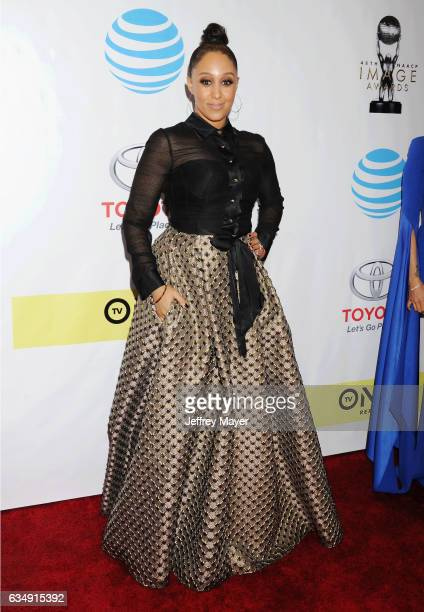 Actress Tamera MowryHousely arrives at the 48th NAACP Image Awards at Pasadena Civic Auditorium on February 11 2017 in Pasadena California