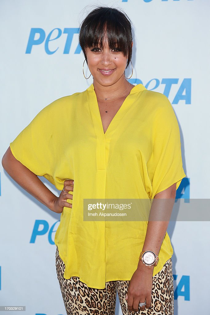 Actress Tamera Mowry-Housley attends the unveiling of sister, Tia Mowry's sexy new PETA campaign at The Bob Barker Building on June 10, 2013 in Los Angeles, California.