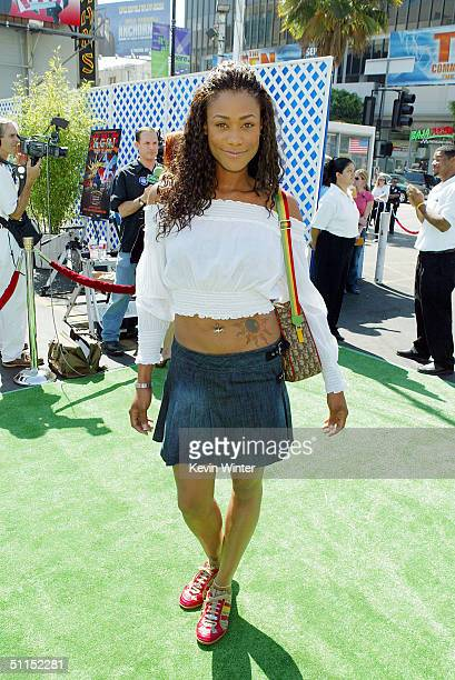 Actress Tami Anderson arrives for the premiere of Warner Bros 'YuGiOh The Movie' at the Chinese Theater August 7 2004 in Los Angeles California