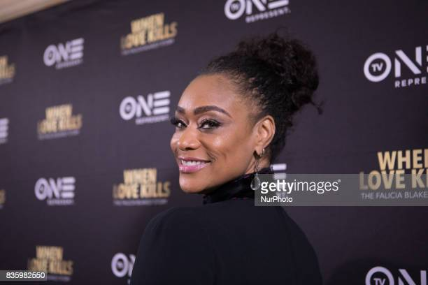 Actress Tami Roman who plays Stacey on TV One's When Love Kills The Falicia Blakely Story poses for a photo on the red carpet at the DC Premiere at...