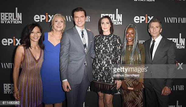 Actress Tamlyn Tomita writer Caroline Goodall actors Richard Armitage Michelle Forbes April Grace and Leland Orser attend EPIX 'Berlin Station' LA...