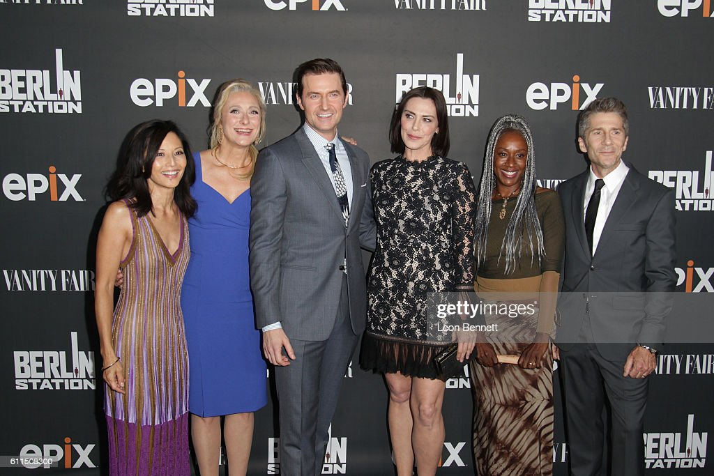 Actress Tamlyn Tomita, writer Caroline Goodall, actors Richard Armitage, Michelle Forbes, April Grace and Leland Orser attends Premiere Of EPIX's 'Berlin Station' at Milk Studios on September 29, 2016 in Hollywood, California.