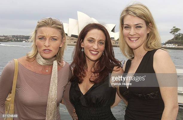 Actress Tammy MacIntosh Georgie Parker and Jenni Baird of the cast of the Australian TV medical drama 'All Saints' attending lunch at Wildfire...
