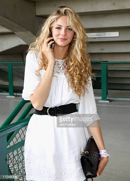 Actress Tamsin Egerton arrives as a guest of Evian during the Wimbledon Championships 2008 at the All England Club on June 23 2008 in London England