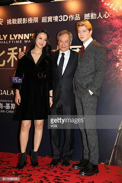Actress Tang Wei director Ang Lee and British actor Joe Alwyn attend the premiere of Ang Lee's film 'Billy Lynn's Long Halftime Walk' on November 8...