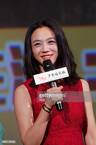 Actress Tang Wei promotes director Mabel Cheung's new movie 'A Tale of Three Cities' on August 25 2015 in Hangzhou Zhejiang Province of China