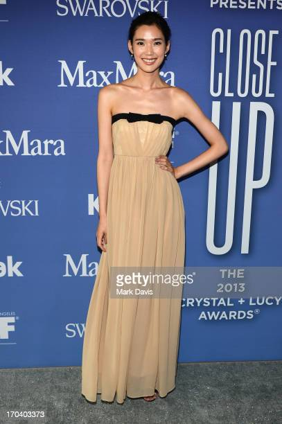 Actress Tao Okamoto attends Women In Film's 2013 Crystal Lucy Awards at The Beverly Hilton Hotel on June 12 2013 in Beverly Hills California