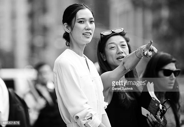 Actress Tao Okamoto is seen outside the Calvin Klein show wearing a Calvin Klein dress on September 11 2014 in New York City