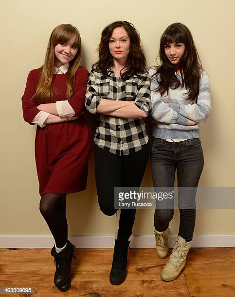 Actress Tara Barr director Rose McGowan and actress Hannah Marks pose for a portrait during the 2014 Sundance Film Festival at the Getty Images...
