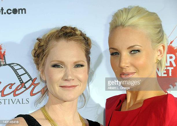 Actress Tara Buck and actress Brianne Davis arrive for the cast/crew Screening Of 'Among Friends' held at the Jon Lovitz Comedy Club on April 17 2012...