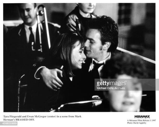 Actress Tara Fitzgerald and actor Ewan McGregor on set of the movie 'Brassed Off ' circa 1996