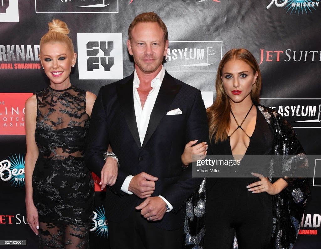Actress Tara Reid, actor Ian Ziering and actress Cassie Scerbo attend the premiere of 'Sharknado 5: Global Swarming' at The LINQ Hotel & Casino on August 6, 2017 in Las Vegas, Nevada.