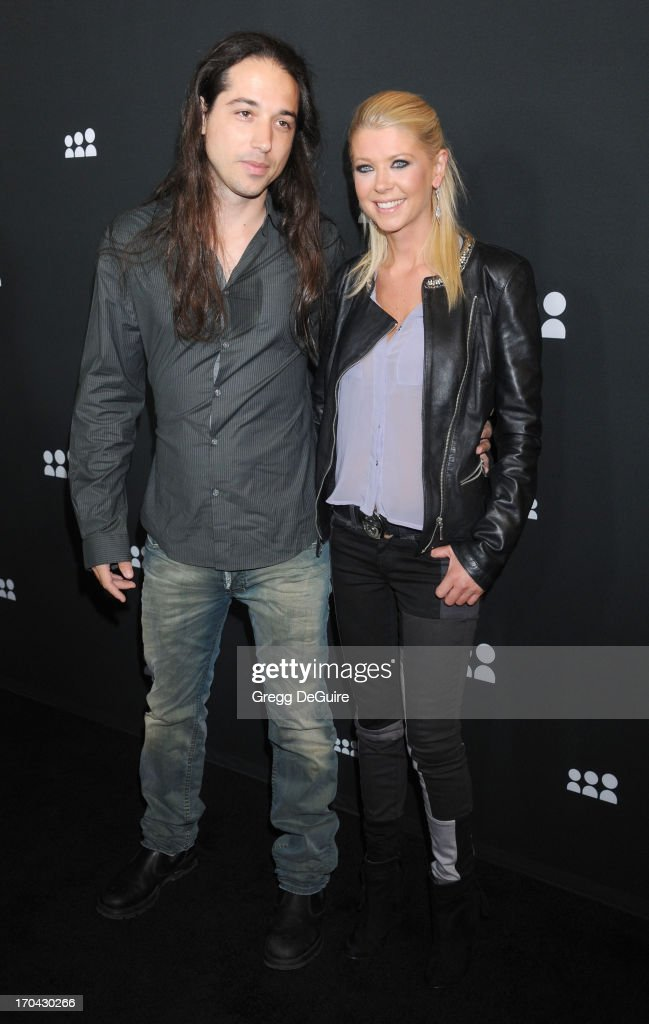 Actress <a gi-track='captionPersonalityLinkClicked' href=/galleries/search?phrase=Tara+Reid&family=editorial&specificpeople=202160 ng-click='$event.stopPropagation()'>Tara Reid</a> (R) and guest arrive at the Myspace event at El Rey Theatre on June 12, 2013 in Los Angeles, California.