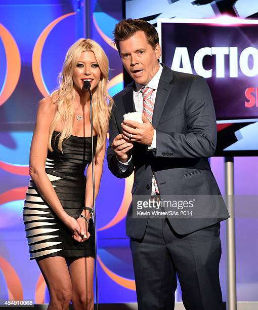 Actress Tara Reid and internet personality Jack Vale speak onstage during the 4th Annual Streamy Awards presented by CocaCola on September 7 2014 in...