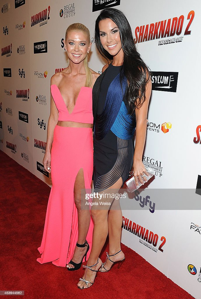 Actress Tara Reid (L) and Lindsey Berman attend the premiere of The Asylum & Fathom Events' 'Sharknado 2: The Second One' at Regal Cinemas L.A. Live on August 21, 2014 in Los Angeles, California.
