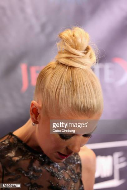 Actress Tara Reid hair detail attends the premiere of 'Sharknado 5 Global Swarming' at The Linq Hotel Casino on August 6 2017 in Las Vegas Nevada