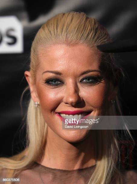 Actress Tara Reid poses at the premiere for TBS's 'Drop The Mic' and 'The Joker's Wild' at The Highlight Room on October 11 2017 in Los Angeles...