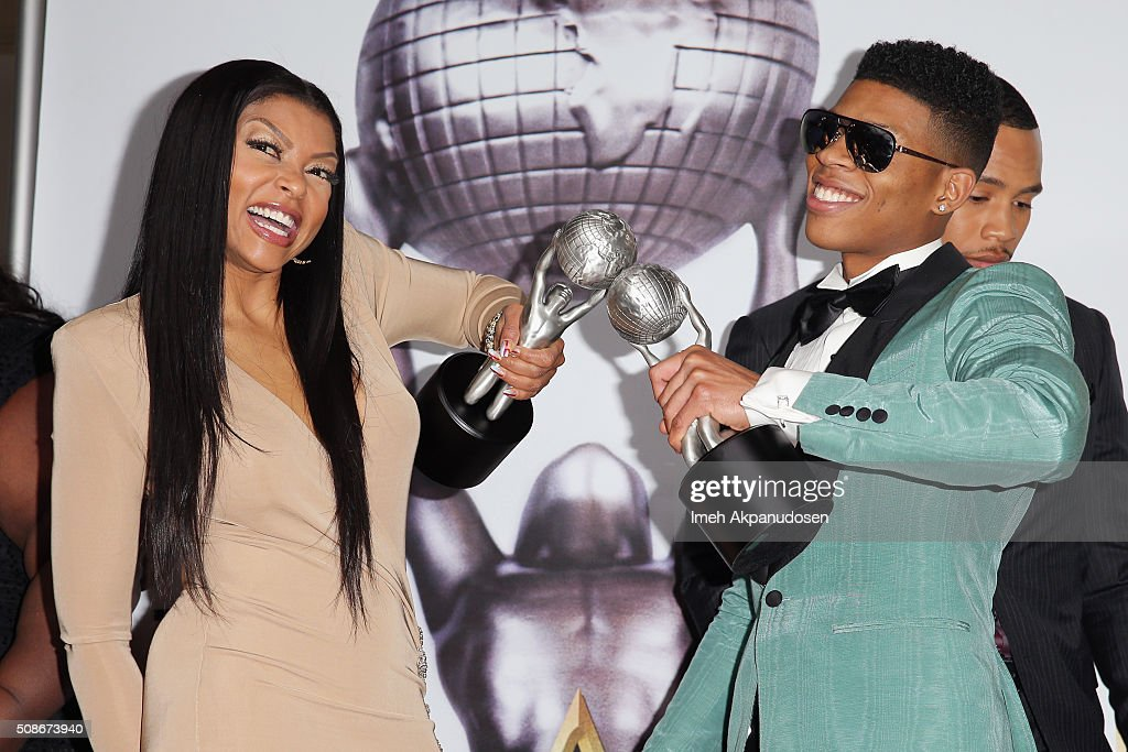 Actress Taraji P. Henson (L) and actor Bryshere Y. Gray pose in the press room during the 47th NAACP Image Awards presented by TV One at Pasadena Civic Auditorium on February 5, 2016 in Pasadena, California.