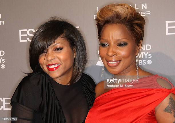 Actress Taraji P Henson and recording artist/actress Mary J Blige attend the ESSENCE Black Women in Music event at the Sunset Tower Hotel on January...