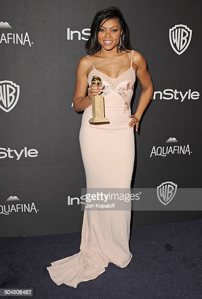 Actress Taraji P Henson arrives at the 2016 InStyle And Warner Bros 73rd Annual Golden Globe Awards PostParty at The Beverly Hilton Hotel on January...