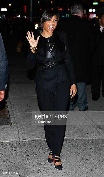 Actress Taraji P Henson arrives at the Ed Sullivan Theater for a taping of the David Letterman Show on November 20 2013 in New York City