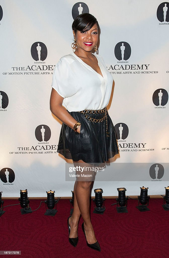 Actress <a gi-track='captionPersonalityLinkClicked' href=/galleries/search?phrase=Taraji+P.+Henson&family=editorial&specificpeople=208823 ng-click='$event.stopPropagation()'>Taraji P. Henson</a> attends The Academy Of Motion Picture Arts And Sciences' Hosts The Academy Nicholl Fellowships In Screenwriting Awards at AMPAS Samuel Goldwyn Theater on November 7, 2013 in Beverly Hills, California.