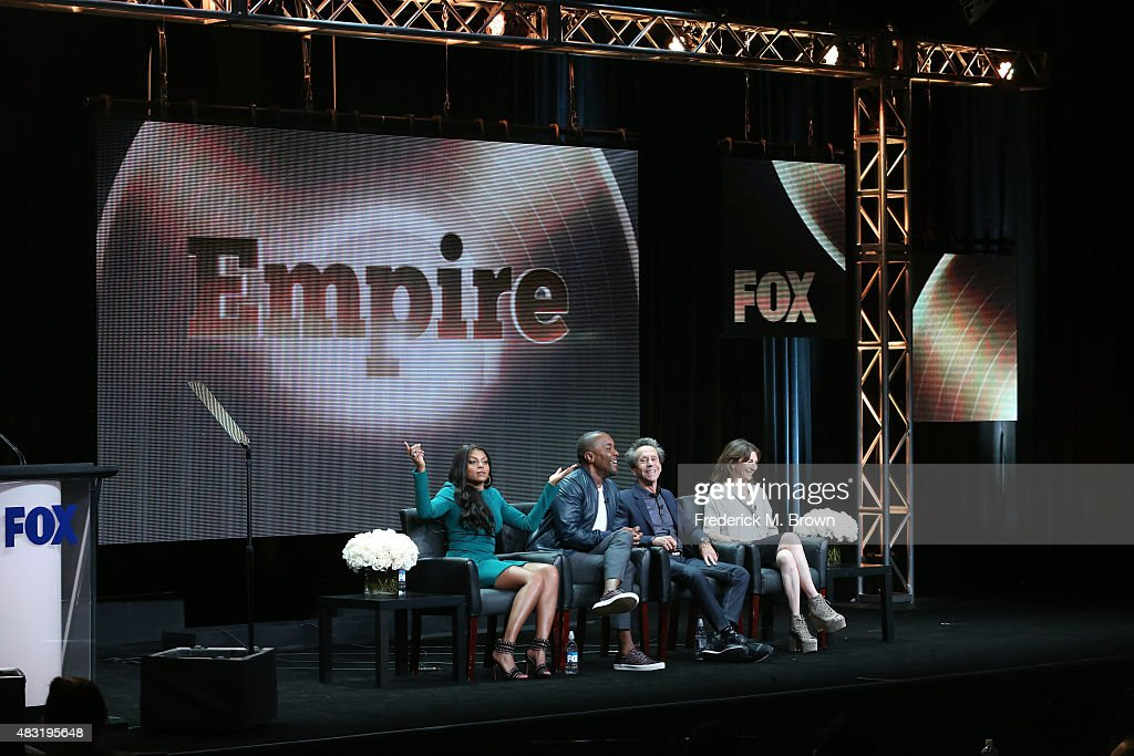 Actress Taraji P Henson creator/writer/executive producer Lee Daniels and executive producers Brian Grazer and Ilene Chaiken speak onstage during the...