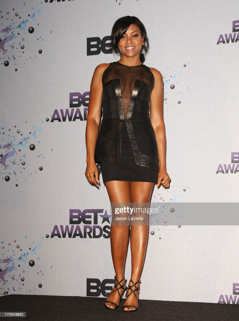 Actress <a gi-track='captionPersonalityLinkClicked' href=/galleries/search?phrase=Taraji+P.+Henson&family=editorial&specificpeople=208823 ng-click='$event.stopPropagation()'>Taraji P. Henson</a> poses in the press room at the 2013 BET Awards at Nokia Theatre L.A. Live on June 30, 2013 in Los Angeles, California.