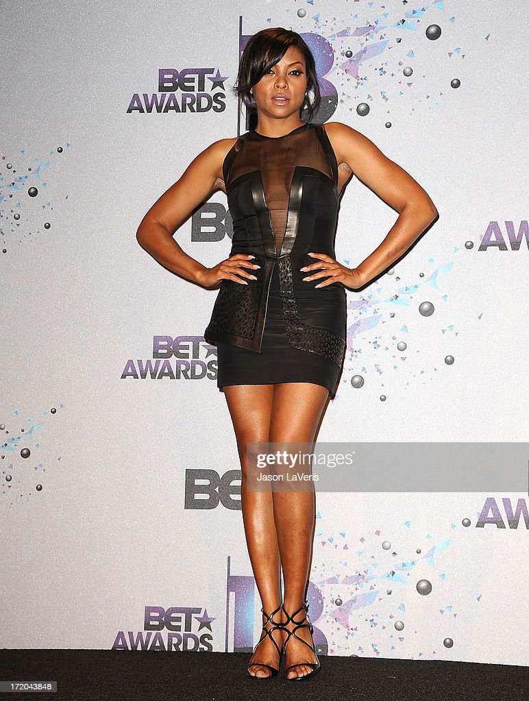 Actress Taraji P. Henson poses in the press room at the 2013 BET Awards at Nokia Theatre L.A. Live on June 30, 2013 in Los Angeles, California.