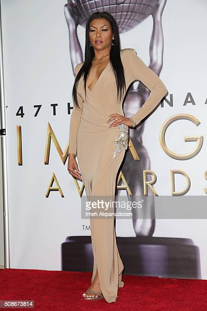Actress Taraji P Henson poses in the press room during the 47th NAACP Image Awards presented by TV One at Pasadena Civic Auditorium on February 5...