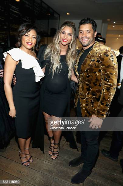Actress Taraji P Henson singer Ciara and NFL player Russell Wilson attend Vanity Fair and Genesis Celebrate 'Hidden Figures' on February 24 2017 in...