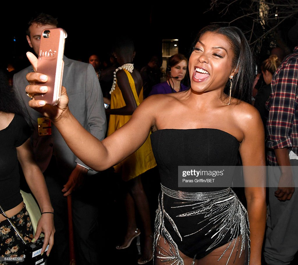 Actress <a gi-track='captionPersonalityLinkClicked' href=/galleries/search?phrase=Taraji+P.+Henson&family=editorial&specificpeople=208823 ng-click='$event.stopPropagation()'>Taraji P. Henson</a> takes a selfie during the 2016 BET Awards at the Microsoft Theater on June 26, 2016 in Los Angeles, California.