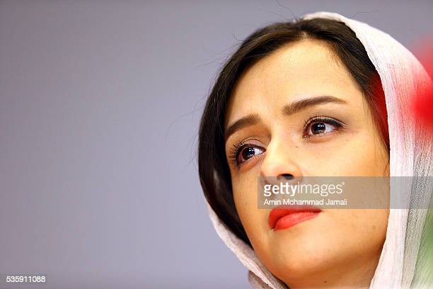 Actress Taraneh Alidoosti looks on during Director Asghar Farhadi and Actor Shahab Hosseini Press Conference the on May 30 2016 in Tehran Iran