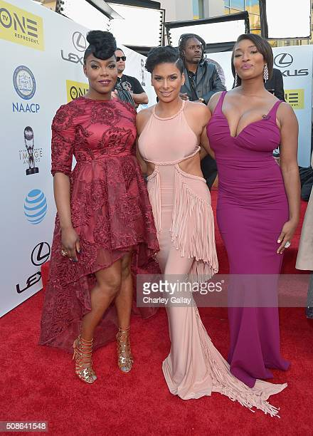 Actress Ta'Rhonda Jones TV Personality Laura Govan and model Toccara Jones attend the 47th NAACP Image Awards presented by TV One at Pasadena Civic...