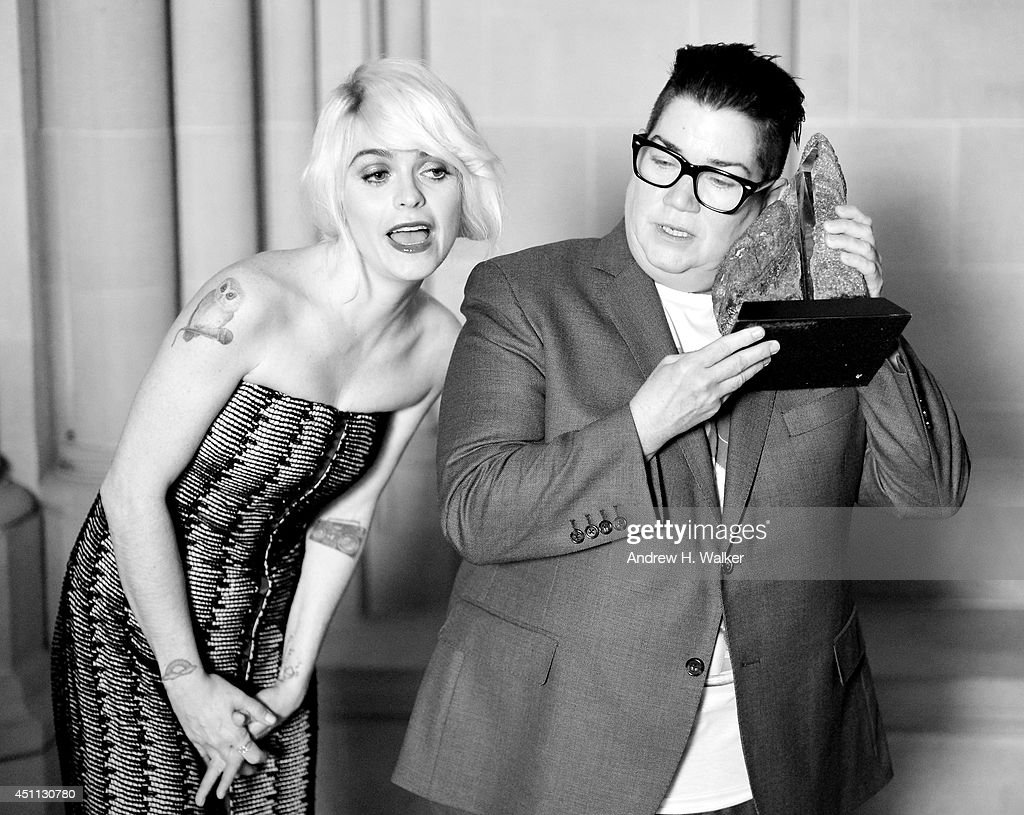 Actress Taryn Manning (L) poses with comedian Lea DeLaria and a Trailblazers award during Logo TV's 'Trailblazers' at the Cathedral of St. John the Divine on June 23, 2014 in New York City.