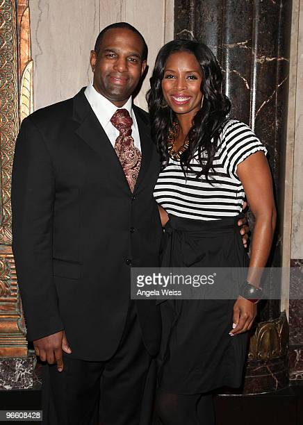 Actress Tasha Smith and guest attend the opening night of 'The Color Purple' at the Pantages Theatre on February 11 2010 in Hollywood California