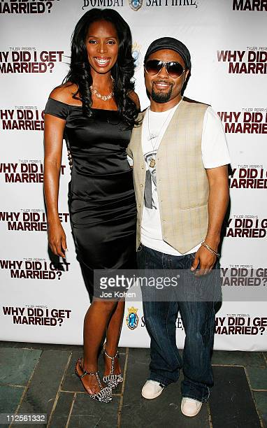 Actress Tasha Smith and Recording Artist Musiq Soulchild arrive at 'Why Did I Get Married' Screening at the Bryant Park Hotel on October 9 2007 in...