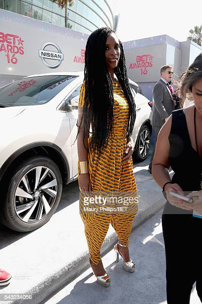 Actress Tasha Smith attends the Nissan red carpet during the 2016 BET Awards at the Microsoft Theater on June 26 2016 in Los Angeles California