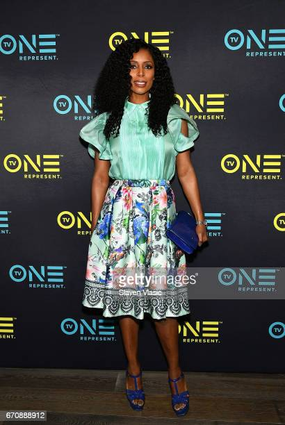 Actress Tasha Smith attends TV One Upfront press junket of upcoming 4Q17 and 2018 programming slate at Current at Chelsea Piers on April 20 2017 in...