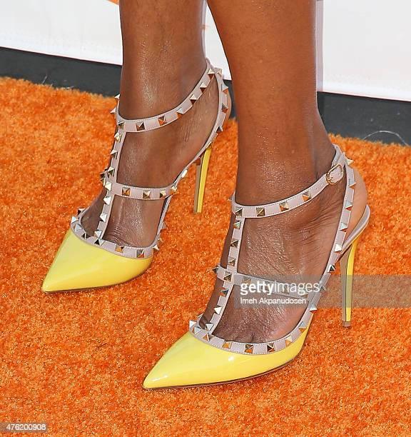 Actress Tasha Smith shoe detail attends Lupus LA's Orange Ball A Night Of Superheroes at Fox Studio Lot on June 6 2015 in Century City California
