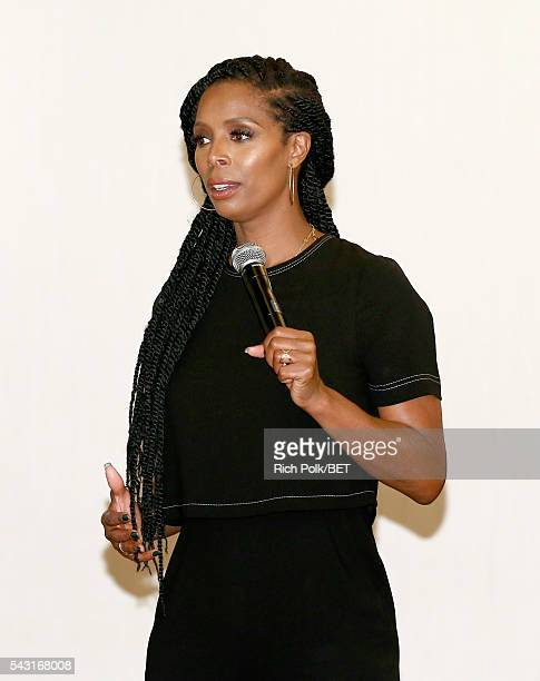 Actress Tasha Smith speaks during ABFF Encore @ BET Experience Master Class during the 2016 BET Experience on June 26 2016 in Los Angeles California