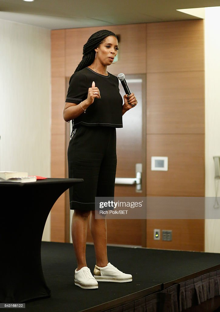 Actress <a gi-track='captionPersonalityLinkClicked' href=/galleries/search?phrase=Tasha+Smith&family=editorial&specificpeople=712139 ng-click='$event.stopPropagation()'>Tasha Smith</a> speaks during ABFF Encore @ BET Experience Master Class during the 2016 BET Experience on June 26, 2016 in Los Angeles, California.
