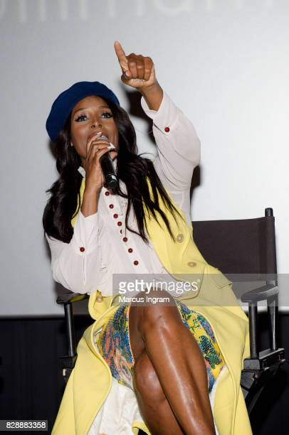 Actress Tasha Smith speaks on stage during the 'When Love Kills The Falicia Blakely Story' QA session at Regal Atlantic Station on August 9 2017 in...