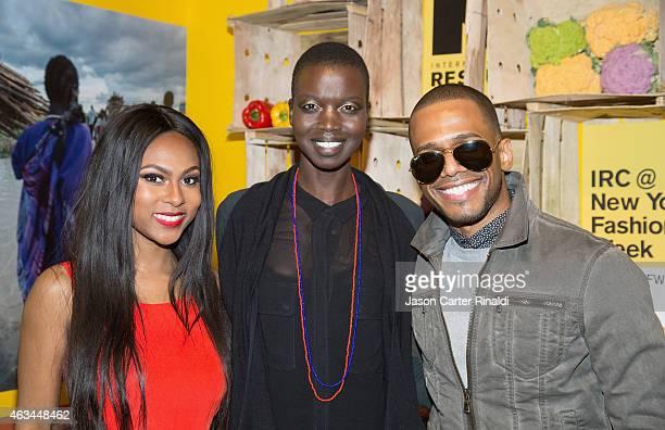 Actress Tashiana Washington model Nykhor Paul and Eric West attends IRC Fashion Week PopUp and Photo Exhibition at Empire Hotel on February 14 2015...